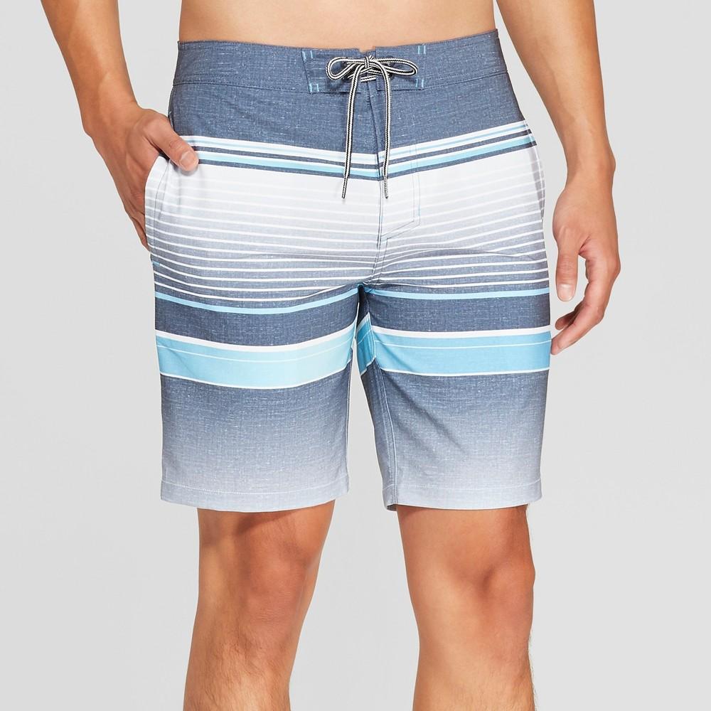 Men's Striped 8.5 Bojack Board Shorts - Goodfellow & Co Indigo 33, Blue