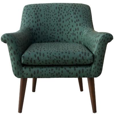 Modern Armchair in Linen Leopard Emerald Green - Skyline Furniture
