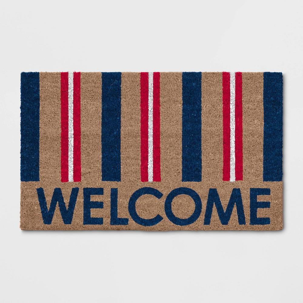 Welcome Stripe Coir Doormat Navy