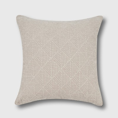 "18""x18"" Geometric Chenille Woven Jacquard Reversible Square Throw Pillow Taupe - freshmint"