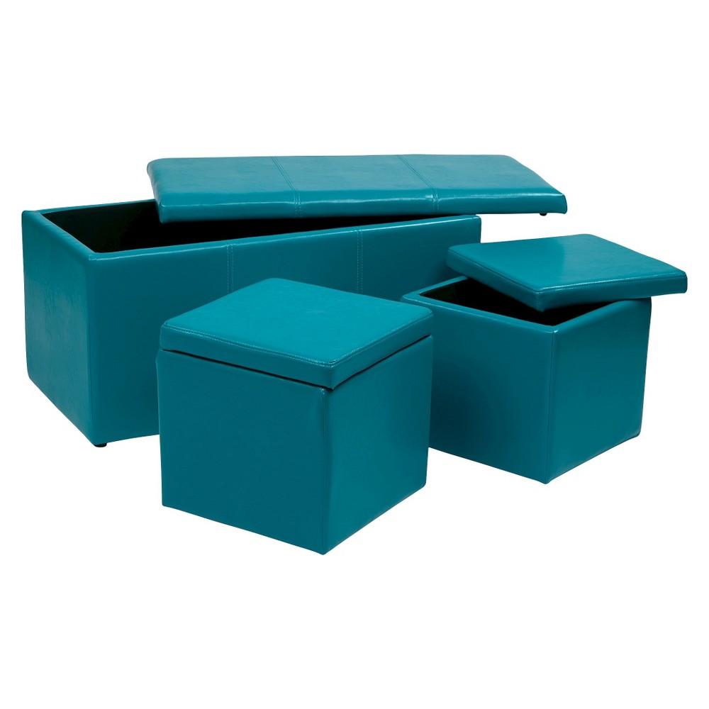 Image of 3pc Metro Storage Ottoman Set Blue - OSP Home Furnishings