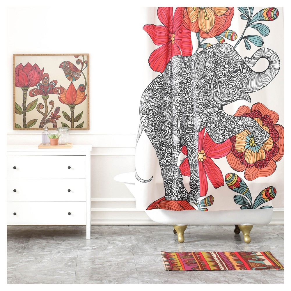 Valentina Ramos Clementine Shower Curtain Red/Animal - Deny Designs, Multicolored Red