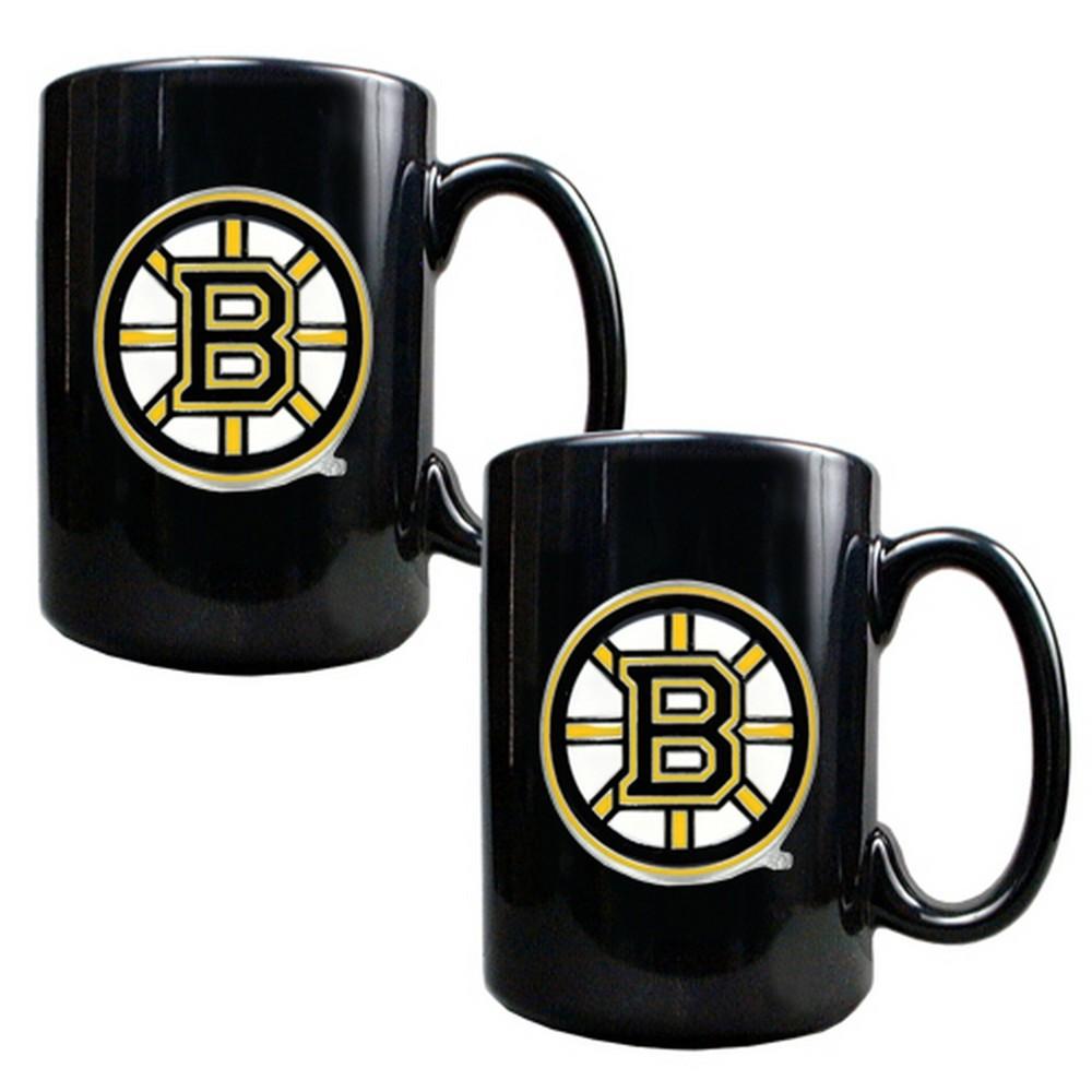 Nhl Boston Bruins 2pk 15oz Black Coffee Mug Set