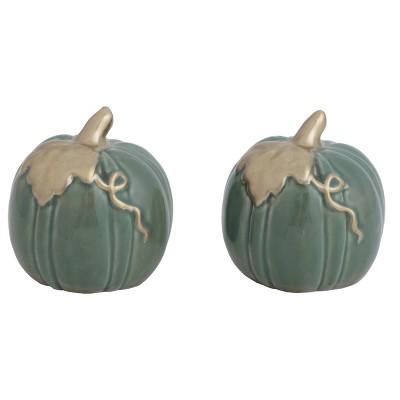 Transpac Ceramic 3 in. Green Harvest Heirloom Pumpkins Salt and Pepper Set of 2