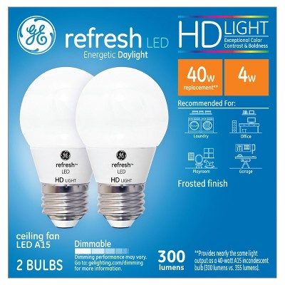 General Electric 40w 2pk Refresh Daylight Equivalent A15 Ceiling Fan Frost Bulb LED HD