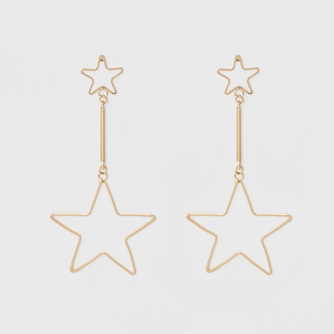 Open Star Post, Bar and Larger Open Star Drop Earrings - Gold - image 1 of 3
