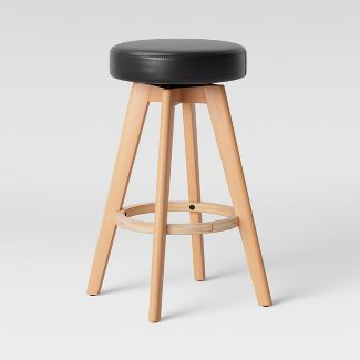 Banning Modern Round Swivel Counter Stool Espresso Faux Leather with Natural Leg - Project 62™