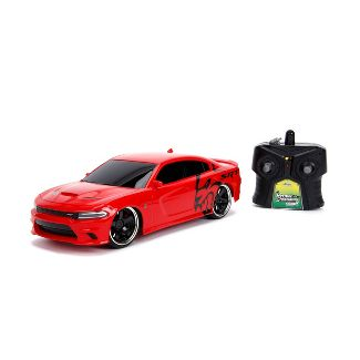 Jada Toys Big Time Muscle RC 2015 Dodge Charger SRT Hellcat Remote Control Vehicle 1:16 Scale Glossy Red