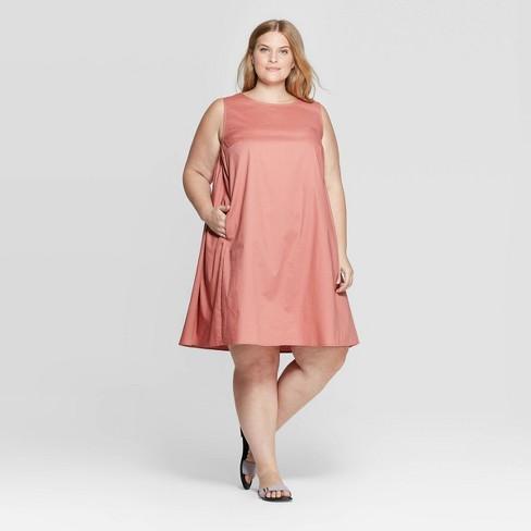 Women\'s Plus Size Sleeveless Scoop Neck Tank Dress - Prologue™ Rose ...
