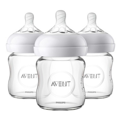 Philips Avent Natural Glass Baby Bottle - 4oz - 3pk
