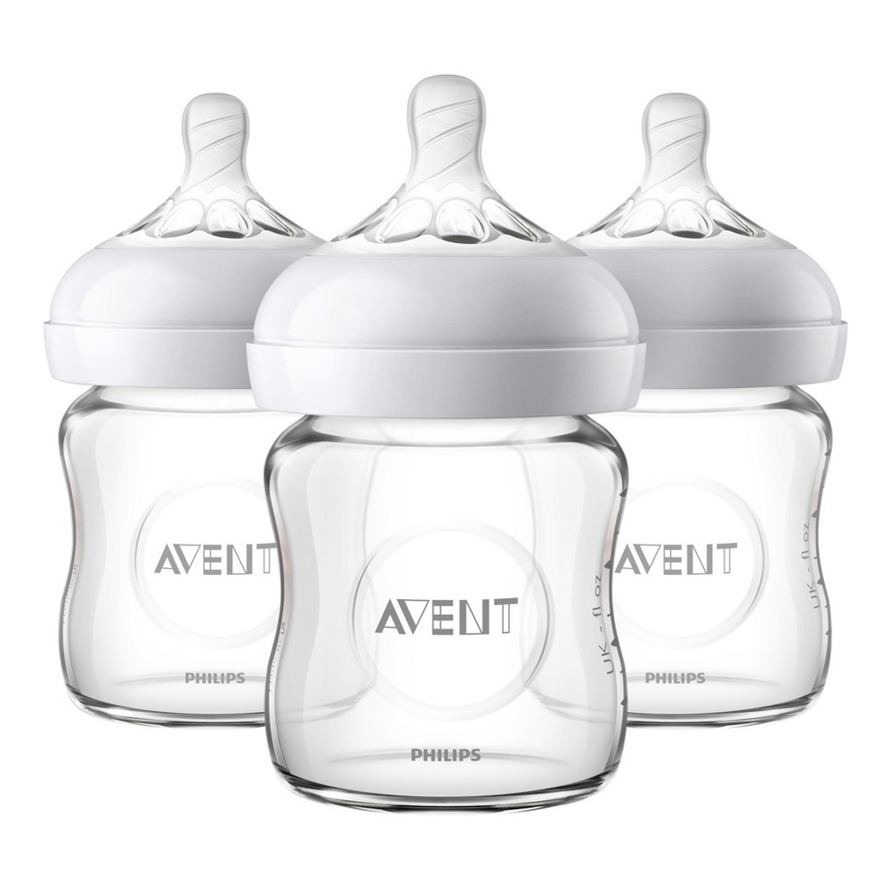 Image of Philips Avent 3pk Natural Glass Baby Bottle 4oz, Clear