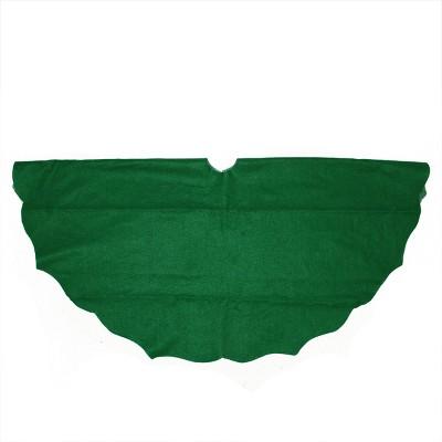 "Northlight 38"" Pine Green Scalloped Edge Round Christmas Tree Skirt"