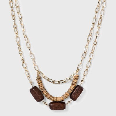 3 Row with Wooden and Heishi Bead Necklace - A New Day™ Gold