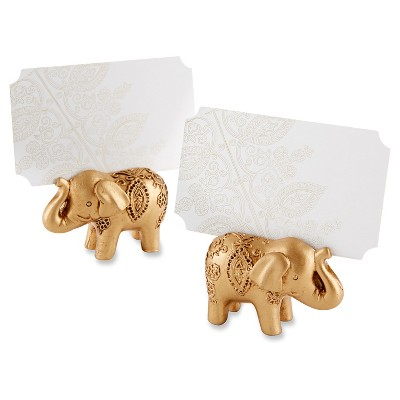 12ct Lucky Golden Elephant Place Card Holders - Gold