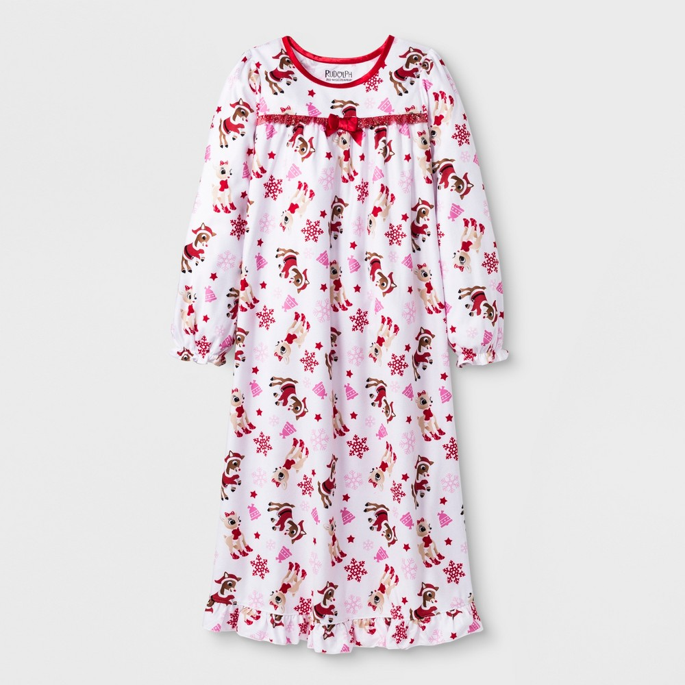 Girls' Rudolph the Red-Nosed Reindeer Granny Nightgown - White XS
