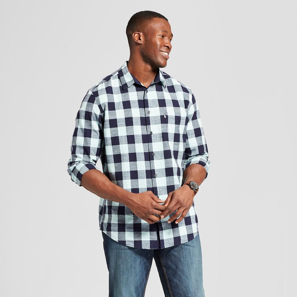 Men's Big & Tall Plaid Standard Fit Cotton Slub Long Sleeve Button-Down Shirt - Goodfellow & Co Soft Aqua 5XBT