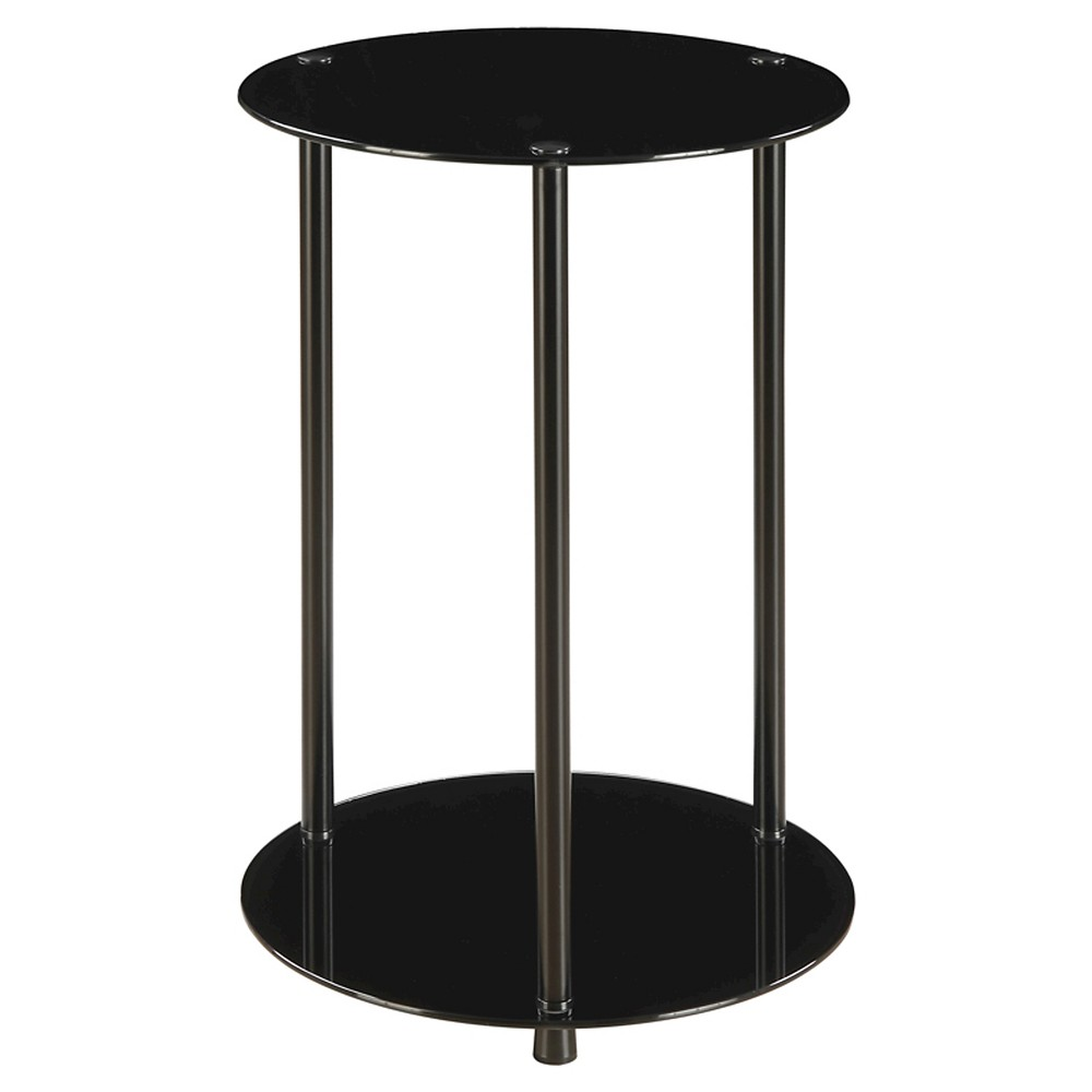 Classic Glass 2 Tier Round End Table - Black Glass - Convenience Concepts