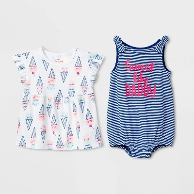Baby Girls' 2pk Fam Love Ice Cream Striped Romper Set - Cat & Jack™ Blue Newborn