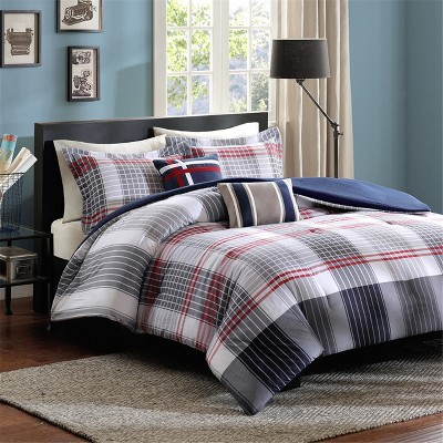 Blue & Red Plaid Carson Multiple Piece Comforter Set