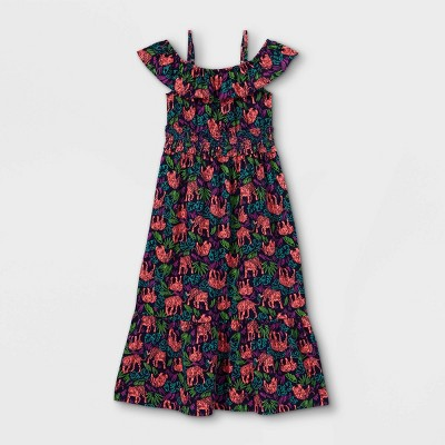 Girls' Printed Knit Maxi Flutter Sleeve Dress - Cat & Jack™