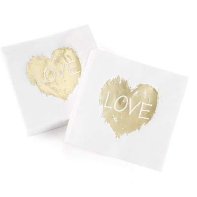 50ct Love Heart' Disposable napkins