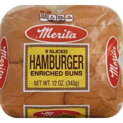 Merita White Hamburger Buns 8ct 12oz