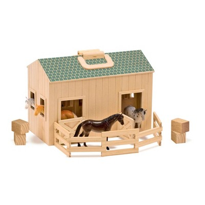 Melissa & Doug Fold and Go Wooden Horse Stable Dollhouse With Handle and Toy Horses (11 pc)