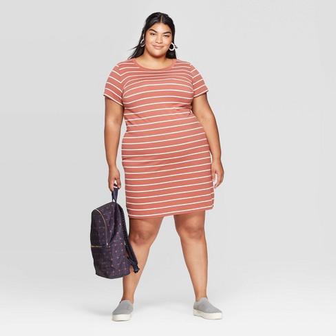 Women\'s Plus Size Striped Short Sleeve Crewneck T-Shirt Dress - Ava & Viv™  Brown