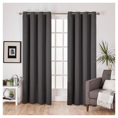 Set of 2 Sateen Twill Weave Insulated Blackout Grommet Top Window Curtain Panels Charcoal (52 x96 )- Exclusive Home®