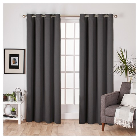 Set of 2 Sateen Twill Weave Insulated Blackout Grommet Top Window Curtain Panels - Exclusive Home® - image 1 of 4