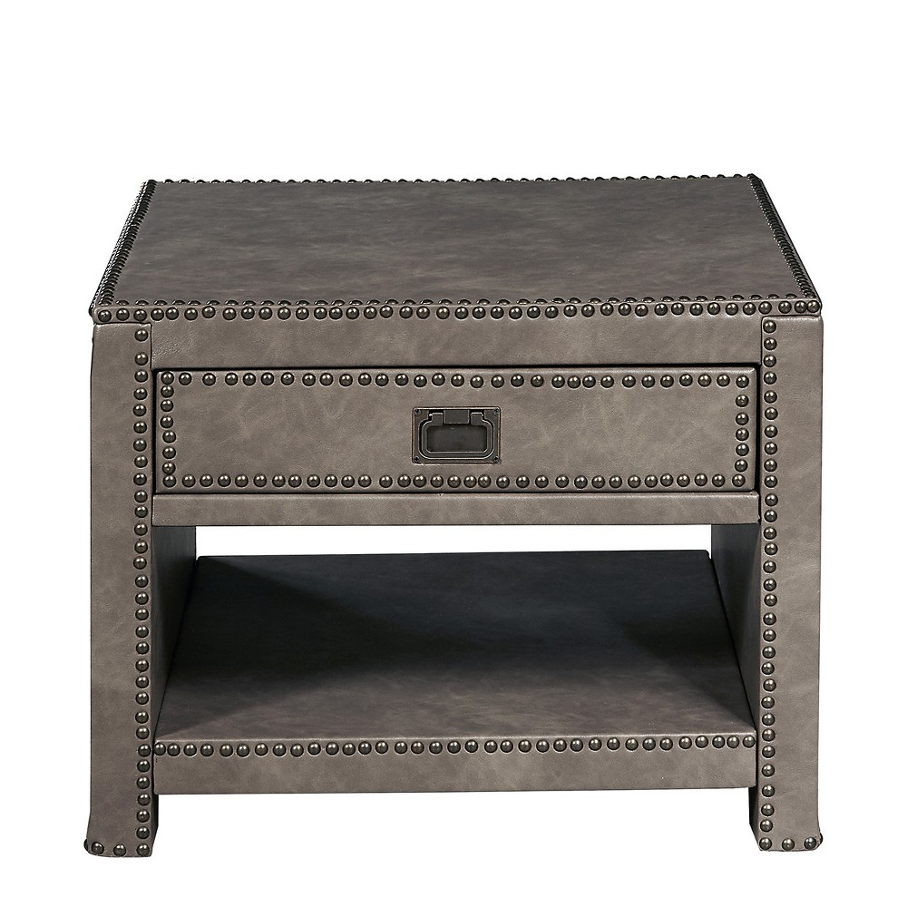 Alcott Industrial Style Square Faux Leather Trunk Table Gray - Pulaski