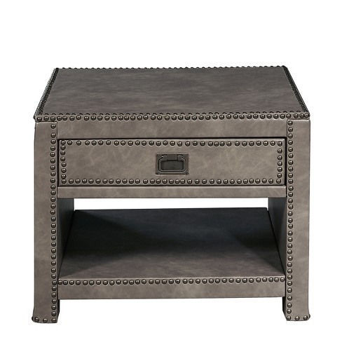 Alcott Style Square Faux Leather Trunk Table Gray Ski