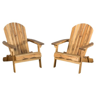 Hanlee Set of 2 Folding Wood Adirondack Chair - Christopher Knight Home