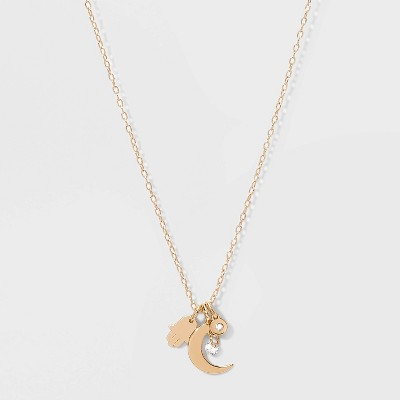 Cubic Zirconia with Hamsa and Moon and Small Disc Short Necklace - Gold