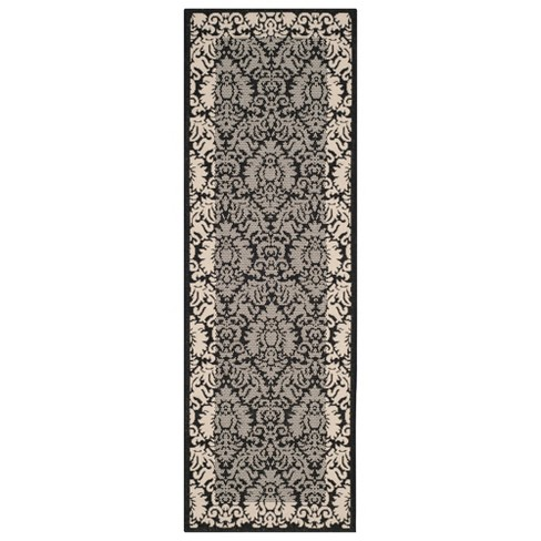 "Violetta Rectangle 2'3"" X 14' Outdoor Rug - Black / Sand  - Safavieh® - image 1 of 3"