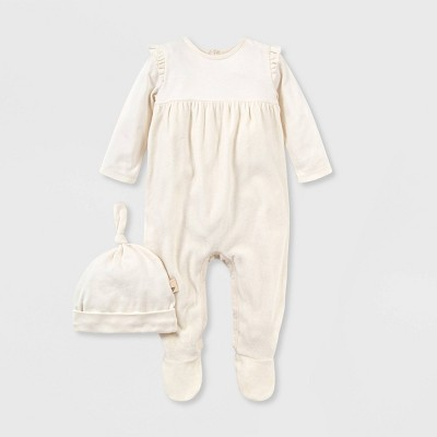 Burt's Bees Baby® Baby Girls' Organic Cotton Velour Jumpsuit and Knot Top Hat Set - White 3M