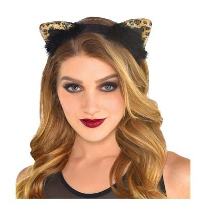 Adult Cheetah Chic Cat Ears Headband Accessory Halloween Costume