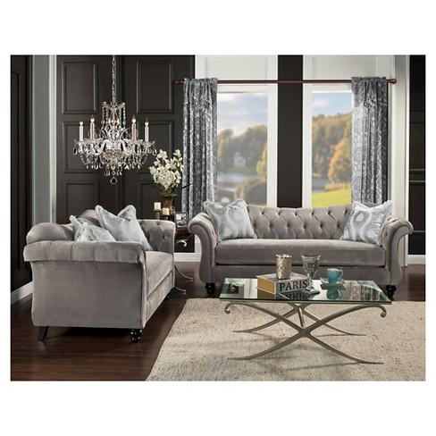 Alexandria Victorian Sofa Gray Furniture Of America Target