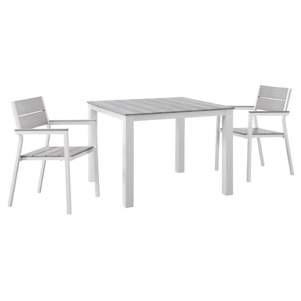 Maine 3pc Square Metal Patio Dining Set - White/Light Gray - Modway, Lt Gray