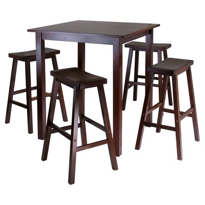 5 Piece Parkland Set High Table with Saddle Seat Bar Stools Wood/Walnut- Winsome
