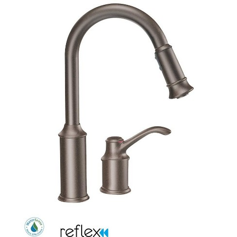 Moen 7590 Aberdeen Single Handle Pulldown Spray Kitchen Faucet With Reflex Technology Oil Rubbed Bronze Target