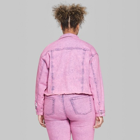 f1ab94d78fa Women s Plus Size Long Sleeve Denim Trucker Jacket - Wild Fable™ Pink 4X    Target