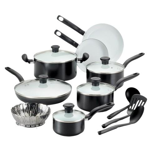 T-fal Initiatives Ceramic C921SG PTFE-free PFOA-free Dishwasher Safe  Cookware 16 Pc Set Black