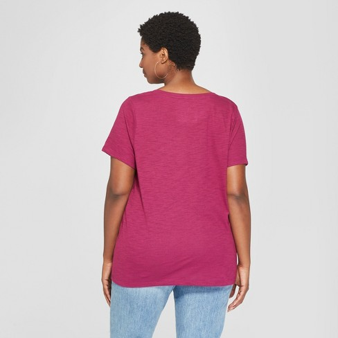 4540e0c3916f8 Women's Plus Size Scoop Neck Short Sleeve T-Shirt - Ava & Viv™ Berry 4X :  Target
