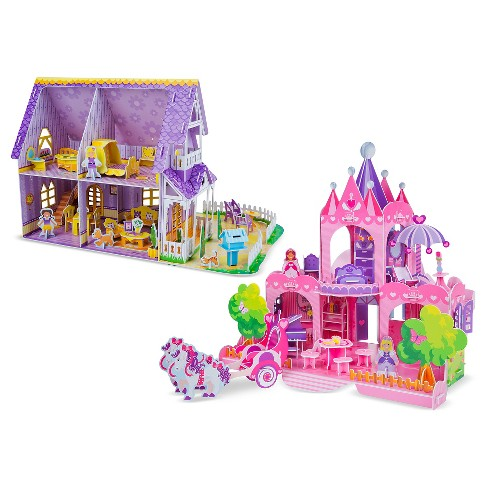 Melissa And Doug 3d Puzzle Kits Set Pretty Purple Dollhouse And Pink