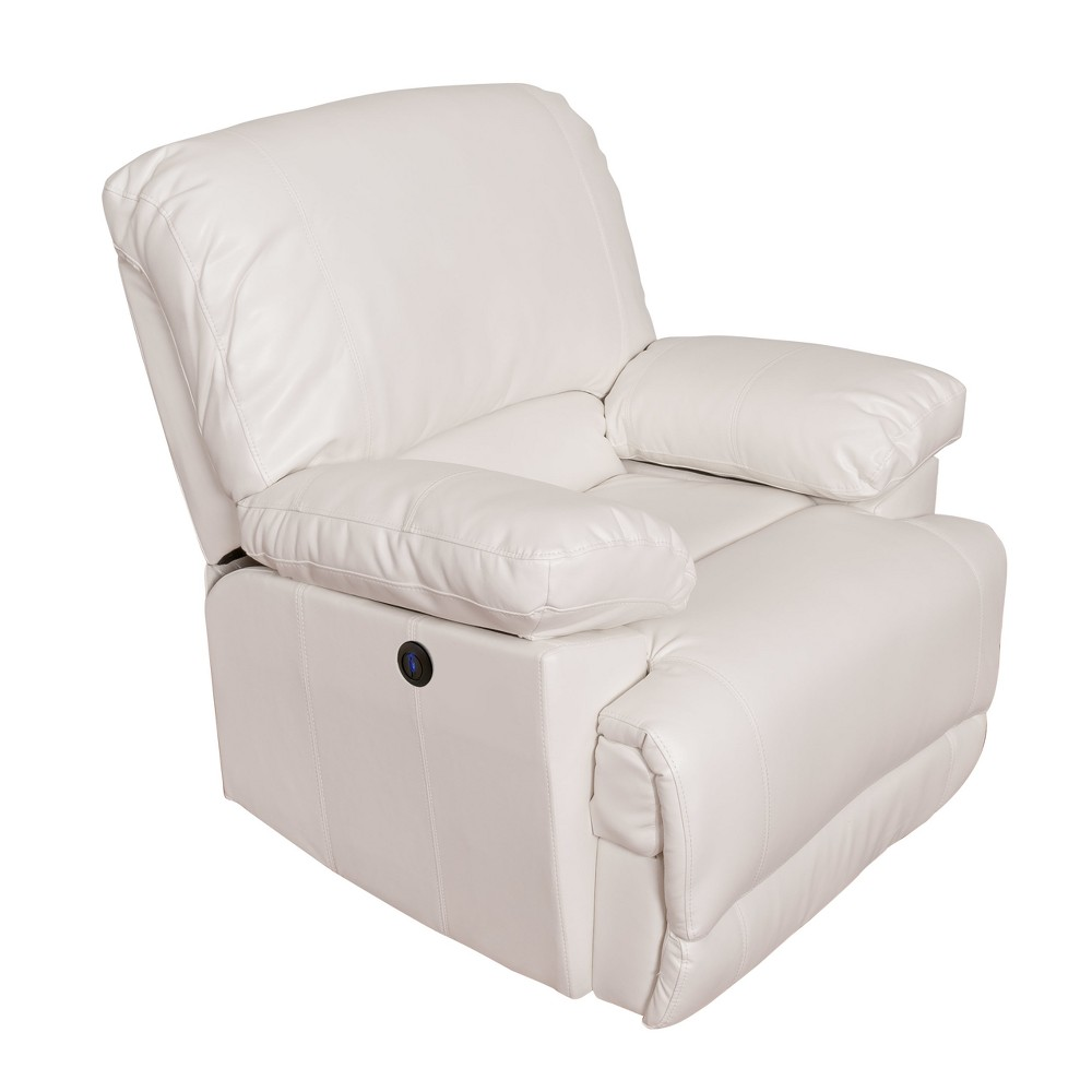 Leather Power Recliner with Usb Port White - CorLiving