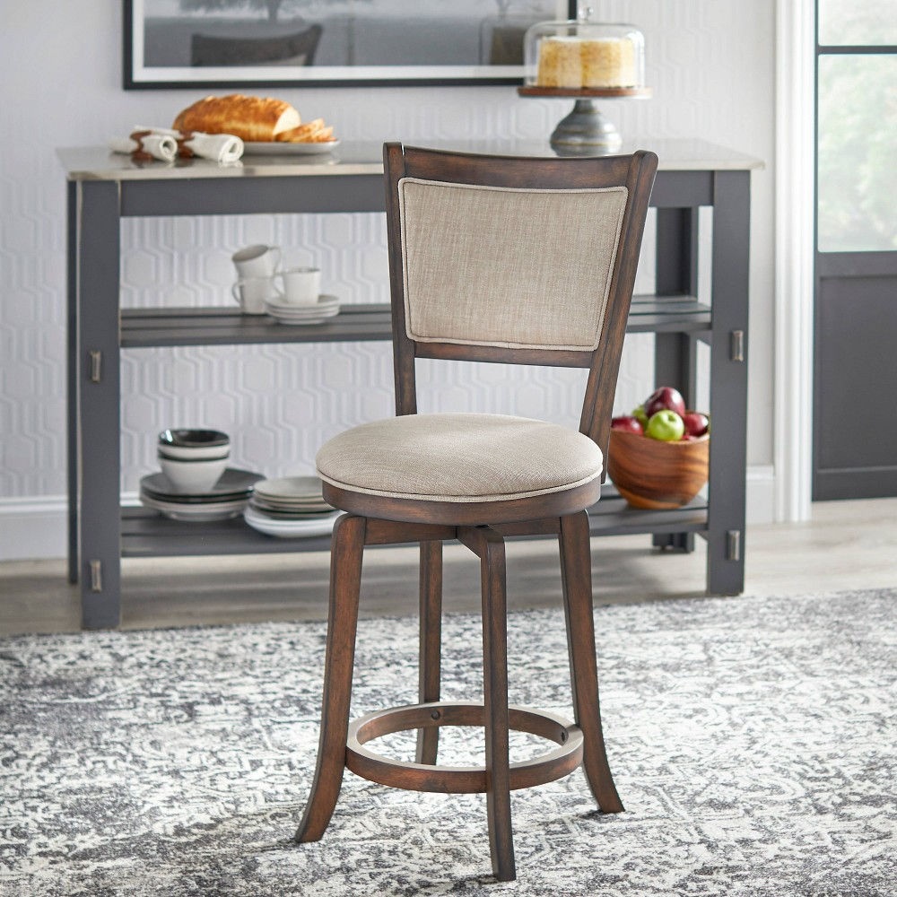 "Image of ""24"""" French Country Swivel Stool Dark Oak - Buylateral"""