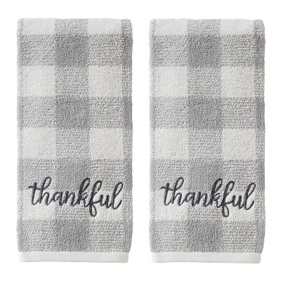2pc Thankful Hand Towel Set Gray - SKL Home