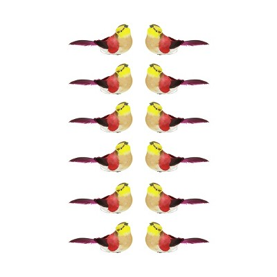 """Northlight 12ct Spotted Bird Christmas Ornament Set 4.75"""" - Red/Yellow"""