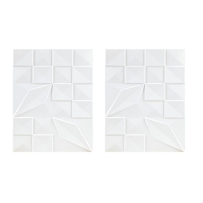 2pc Geo Tempo Carved Wall Panel White